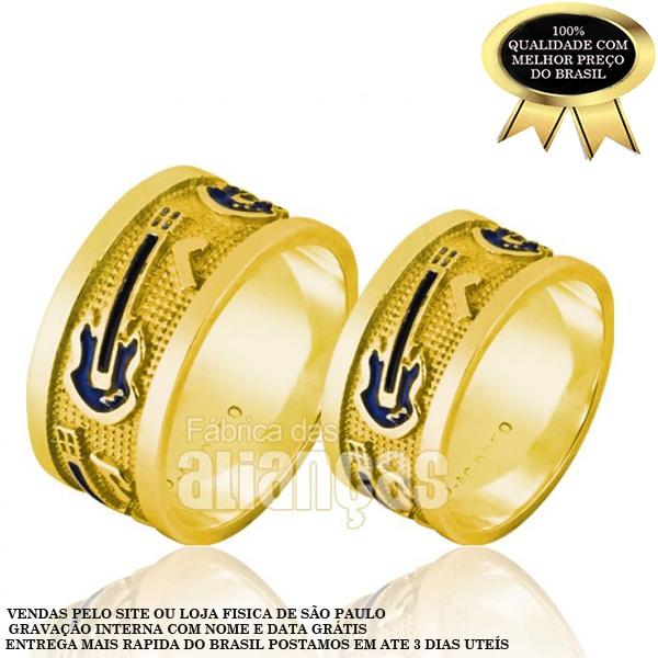 Alianças De Noivado e Casamento Em Ouro Amarelo 18k 0,750 Fa-867