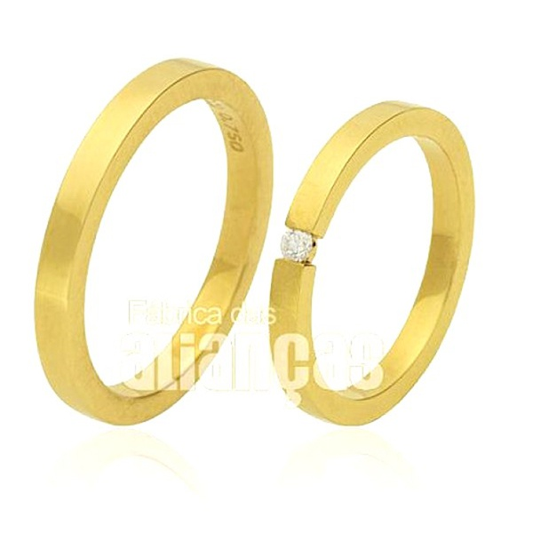 Alianças de Noivado em Ouro 18k com Diamantes