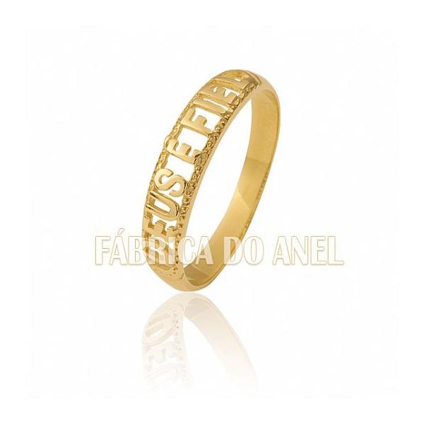 Anel Deus é Fiel Em Ouro Amarelo 18k 0,750 An-02