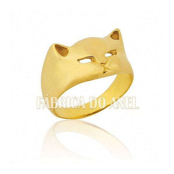 Anel Feminino Gato Em Ouro Amarelo 18k 0,750 An-03