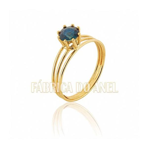 Anel Feminino Safira Azul Em Ouro Amarelo 18k 0,750 An-11-s