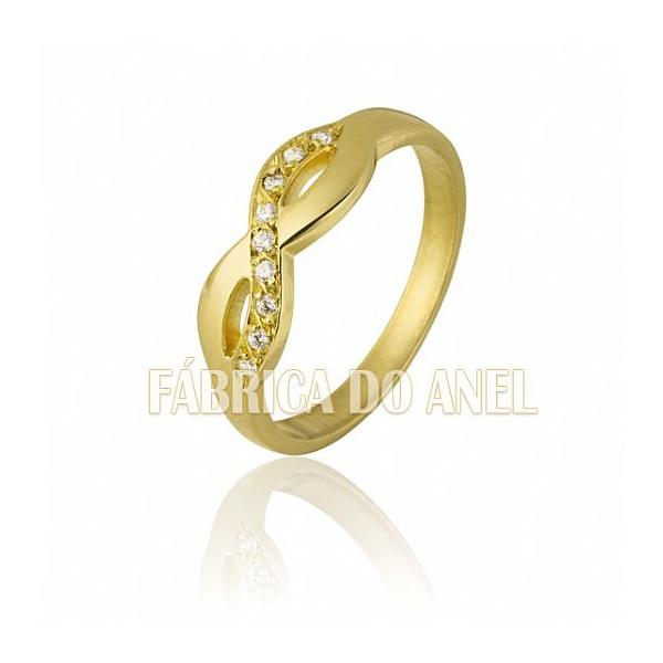 Anel Feminino Infinito Em Ouro Amarelo 18k 0,750 An-104