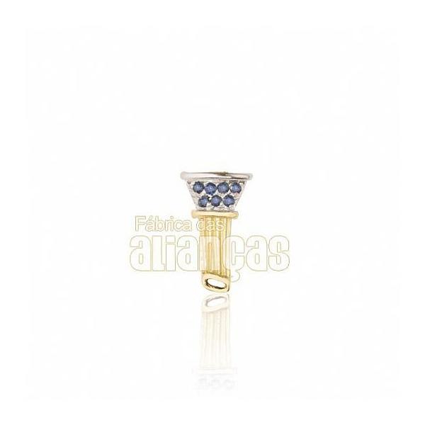 Boton De Formatura De Arquitetura Em Ouro Amarelo 18k 0,750 B-204