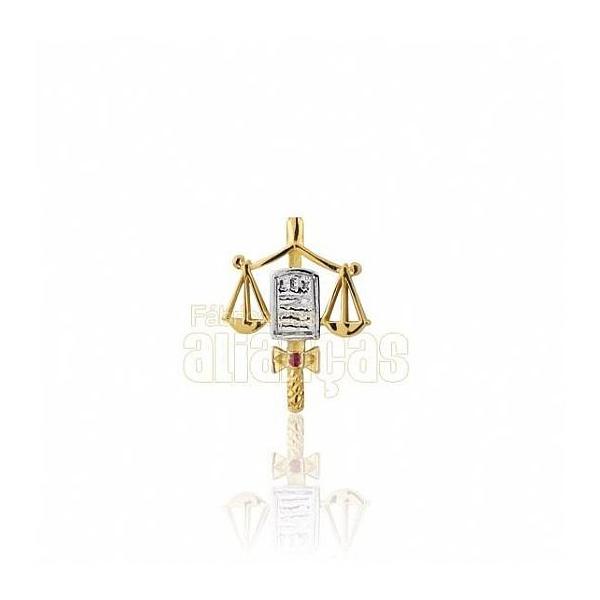 Boton De Formatura De Direito Em Ouro Amarelo 18k 0,750 B-206