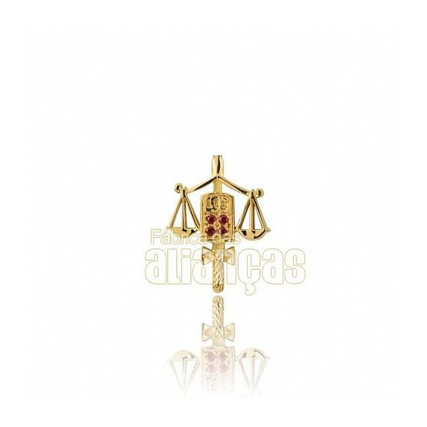 Boton De Formatura De Direito Em Ouro Amarelo 18k 0,750 B-207