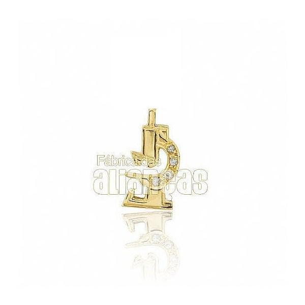 Boton De Formatura De Biologia Em Ouro Amarelo 18k 0,750 B-215