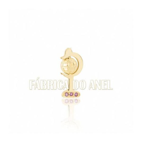 Boton De Formatura De Geografia Em Ouro Amarelo 18k 0,750 B-219