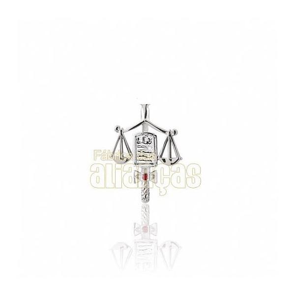 Boton De Formatura De Direito Em Ouro Branco 18k 0,750 B-206-b