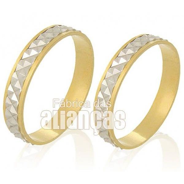 Alianças De Bodas Em Ouro Amarelo 18k 0,750 Fa-230