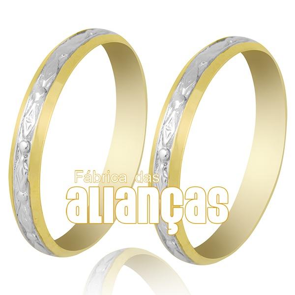 Alianças De Bodas Em Ouro Amarelo 18k 0,750 Fa-239