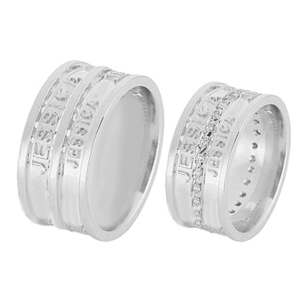 Alianças De Noivado e Casamento Em Ouro Branco 18k 0,750 Fa-599-b