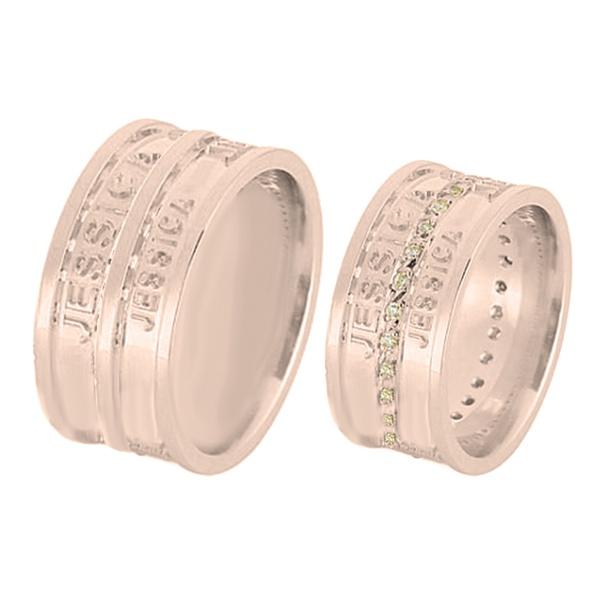 Alianças De Noivado e Casamento Em Ouro Rose 18k 0,750 Fa-599-r