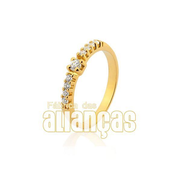 Meia Aliança Com Diamantes Em Ouro 18k 0,750 Fa-ma-12