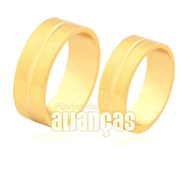 Alianças De Noivado e Casamento Em Ouro 18k Escovada