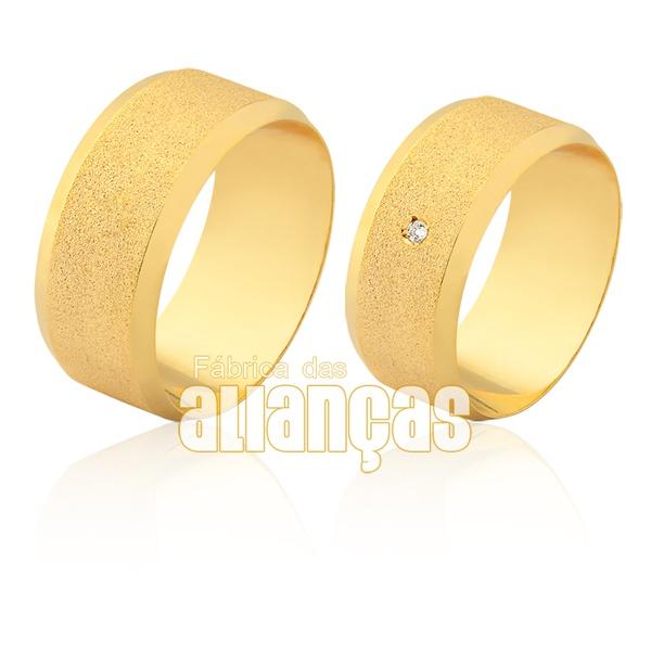 Aliança larga em ouro 18k e detalhe em pedra