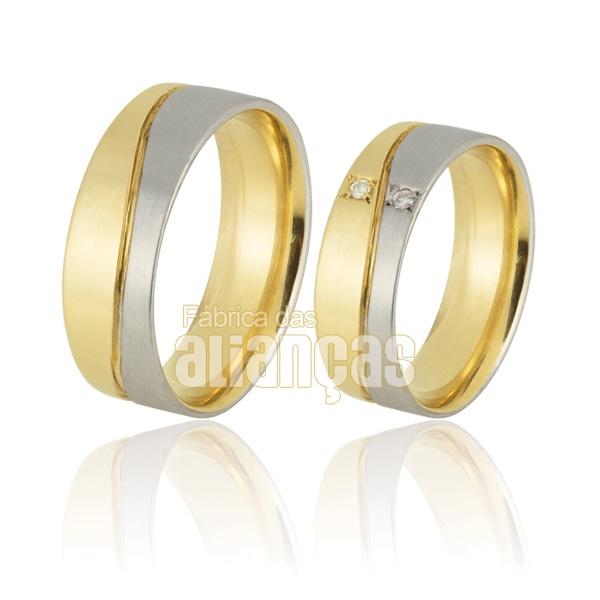Alianças De Noivado e Casamento Em Ouro Amarelo 18k 0,750 Fa-897