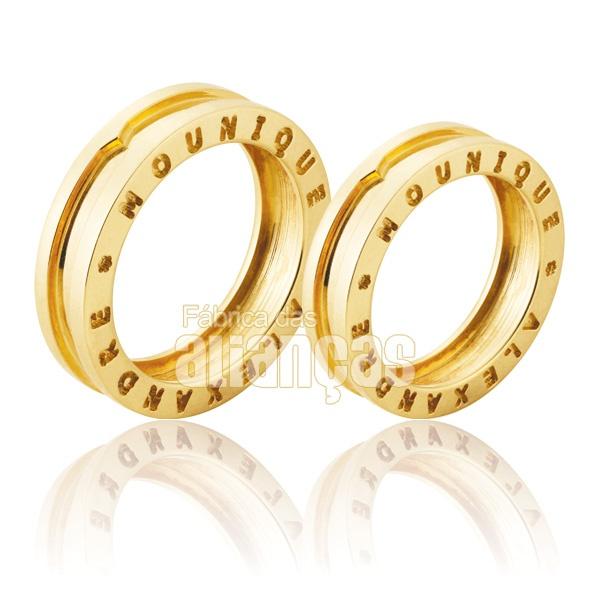 Alianças De Noivado e Casamento Em Ouro Amarelo 18k 0,750 Fa-914