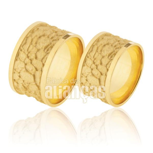 Alianças De Noivado e Casamento Em Ouro Amarelo 18k 0,750 Fa-920
