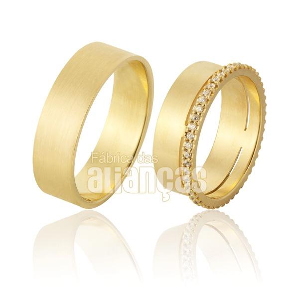 Alianças De Noivado e Casamento Em Ouro Amarelo 18k 0,750 Fa-928