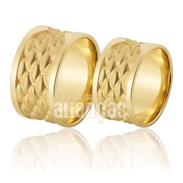 Alianças De Noivado e Casamento Em Ouro Amarelo 18k 0,750 Fa-933