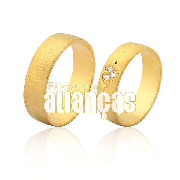Alianças De Noivado e Casamento Em Ouro Amarelo 18k 0,750 Fa-966