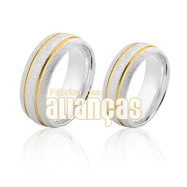 Aliança em Prata com detalhes banhados a ouro