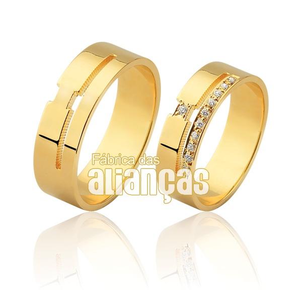 Alianças De Noivado e Casamento Em Ouro Amarelo 18k 0,750 Fa-936