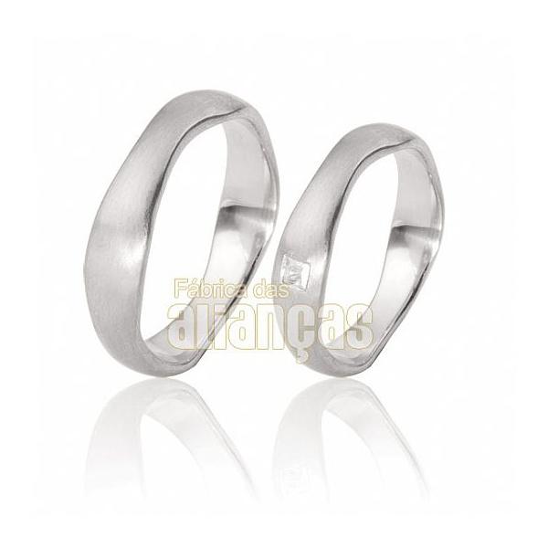 Alianças De Noivado e Casamento Em Ouro Branco 18k 0,750 Fa-109-b