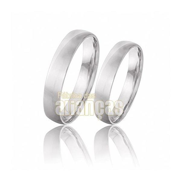 Alianças De Noivado e Casamento Em Ouro Branco 18k 0,750 Fa-128-b