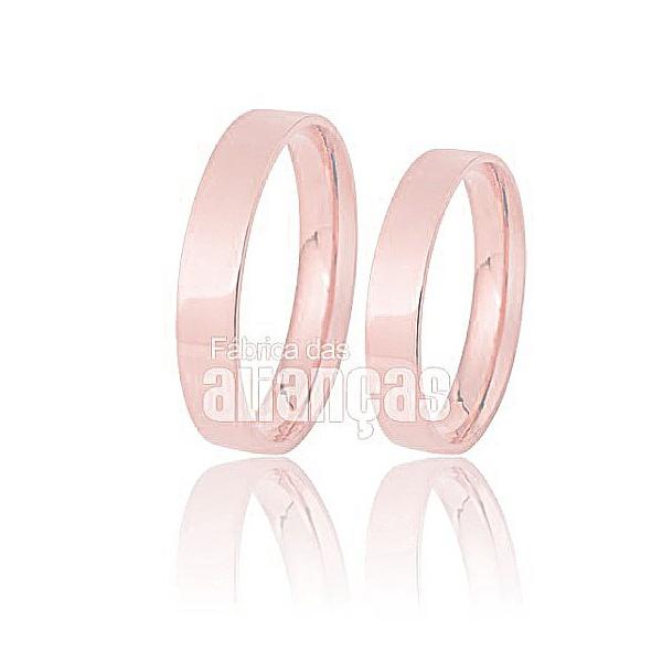 Alianças De Noivado e Casamento Em Ouro Rose 18k 0,750 Fa-167-r