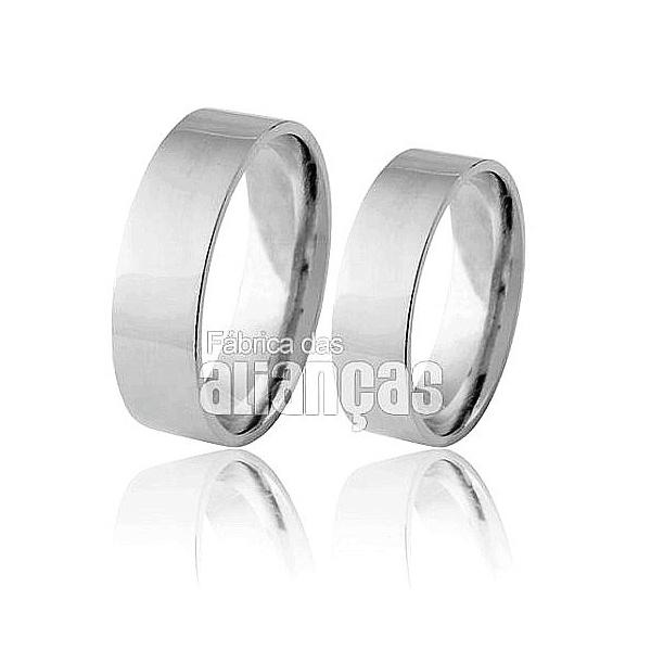 Alianças De Noivado e Casamento Em Ouro Branco 18k 0,750 Fa-169-b