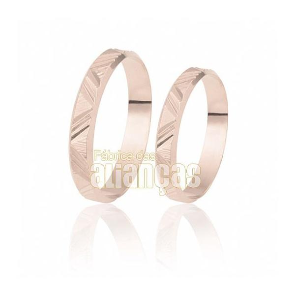 Alianças De Noivado e Casamento Em Ouro Rose 18k 0,750 Fa-181-r - FA-181-R - Fábrica das Alianças
