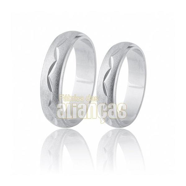Alianças De Noivado e Casamento Em Ouro Branco 18k 0,750 Fa-195-b