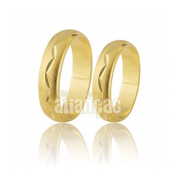 Alianças De Noivado e Casamento Em Ouro Amarelo 18k 0,750 Fa-195