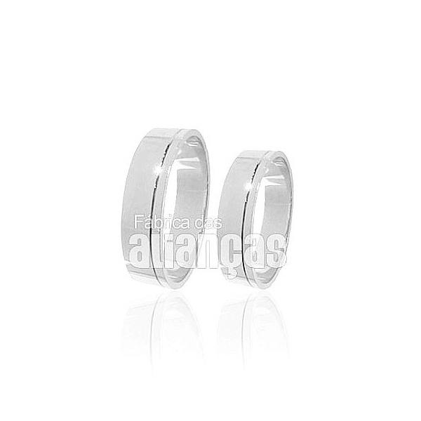 Alianças De Noivado e Casamento Em Ouro Branco 18k 0,750 Fa-197-b
