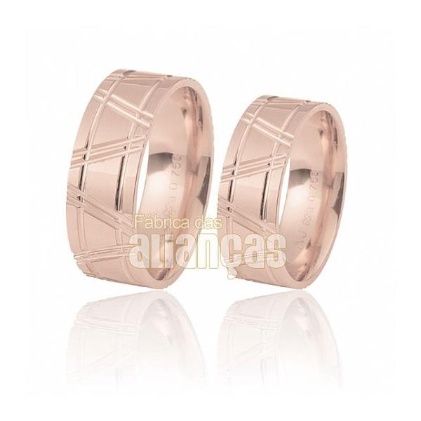 Alianças De Noivado e Casamento Em Ouro Rose 18k 0,750 Fa-210-r