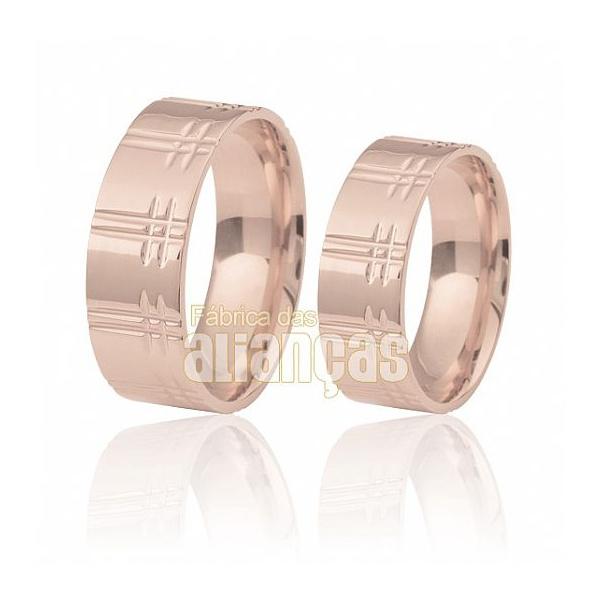 Alianças De Noivado e Casamento Em Ouro Rose 18k 0,750 Fa-211-r