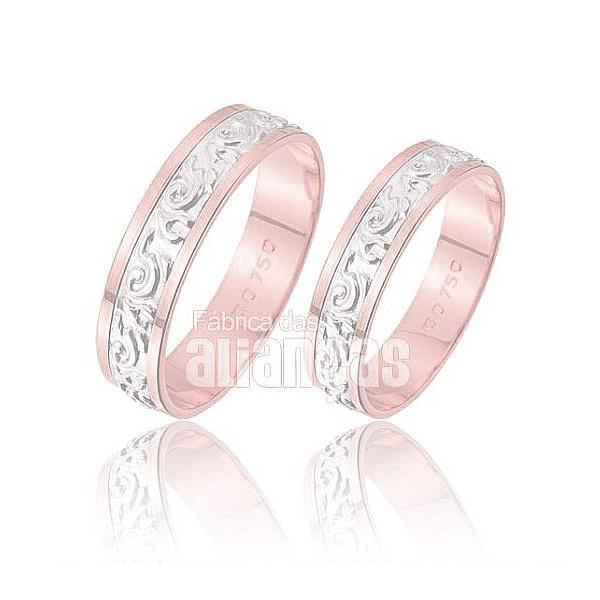 Alianças De Noivado e Casamento Em Ouro Rose 18k 0,750 Fa-221-r