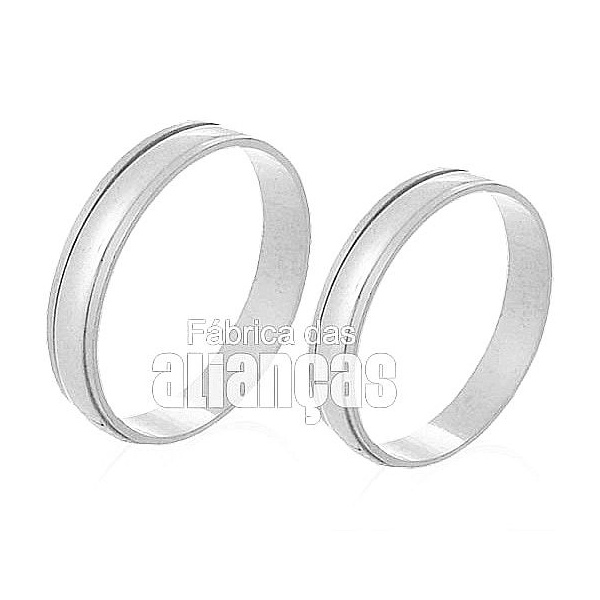 Alianças De Noivado e Casamento Em Ouro Branco 18k 0,750 Fa-227-b