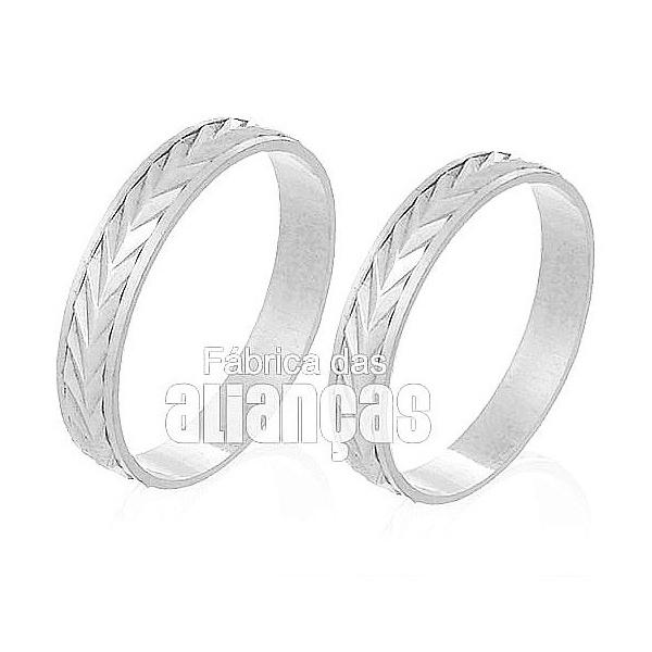 Alianças De Noivado e Casamento Em Ouro Branco 18k 0,750 Fa-229-b