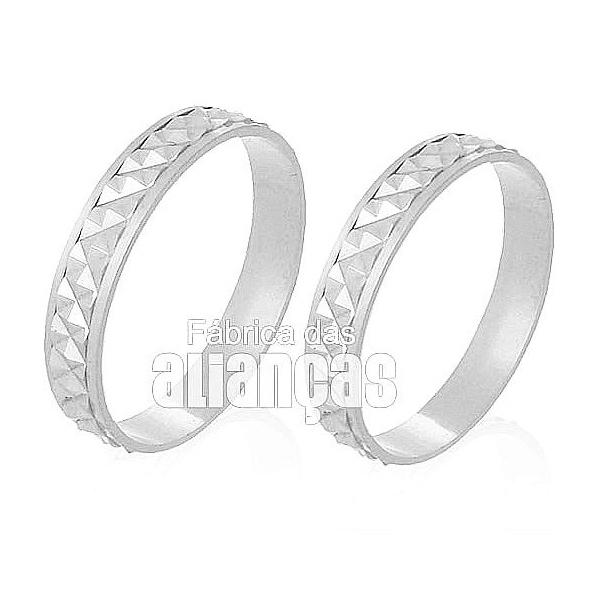 Alianças De Noivado e Casamento Em Ouro Branco 18k 0,750 Fa-230-b