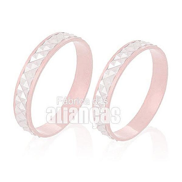 Alianças De Noivado e Casamento Em Ouro Rose 18k 0,750 Fa-230-r