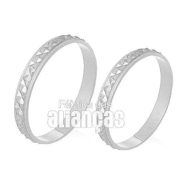 Alianças De Noivado e Casamento Em Ouro Branco 18k 0,750 Fa-234-b - FA-234-B - Fábrica das Alianças
