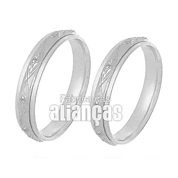 Alianças De Noivado e Casamento Em Ouro Branco 18k 0,750 Fa-242-b