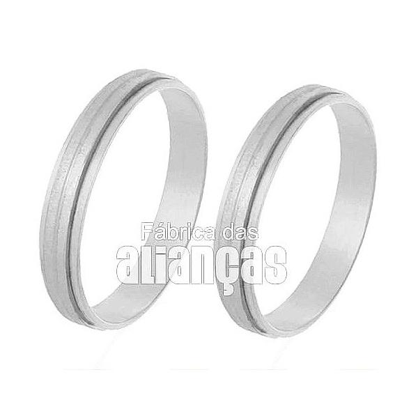 Aliança De Noivado e Casamento Em Ouro Branco 18k 0,750 Fa-245-b