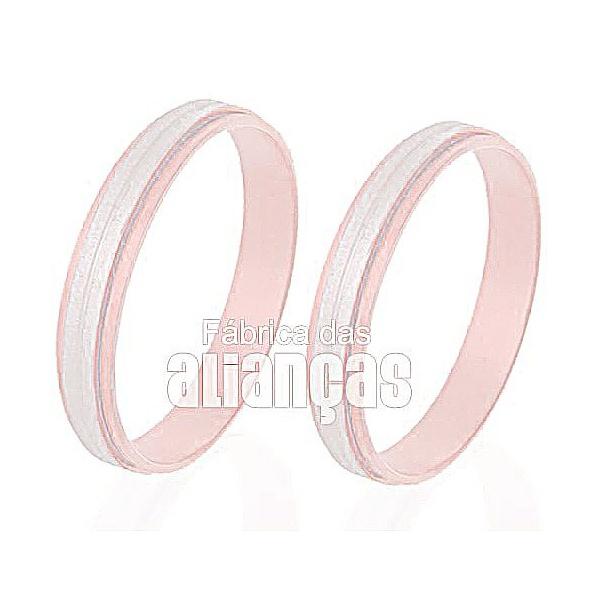 Aliança De Noivado e Casamento Em Ouro Rose 18k 0,750 Fa-245-r