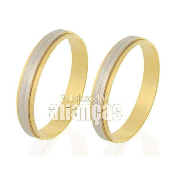 Alianças De Bodas Em Ouro Amarelo 18k 0,750 Fa-245
