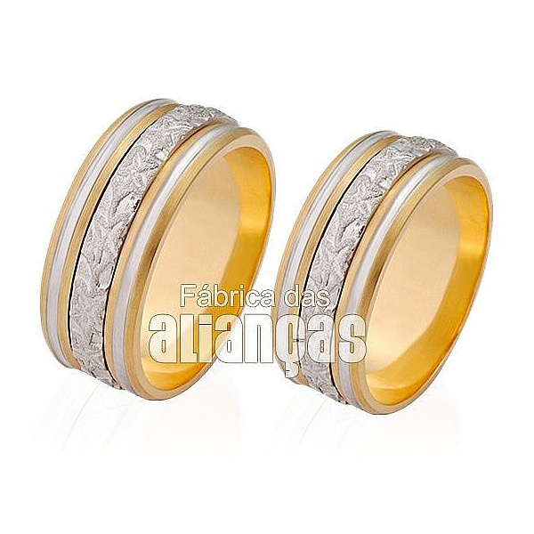Alianças De Bodas Em Ouro Amarelo 18k 0,750 Fa-251