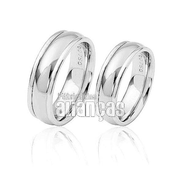 Aliança De Noivado e Casamento Em Ouro Branco 18k 0,750 Fa-260-b