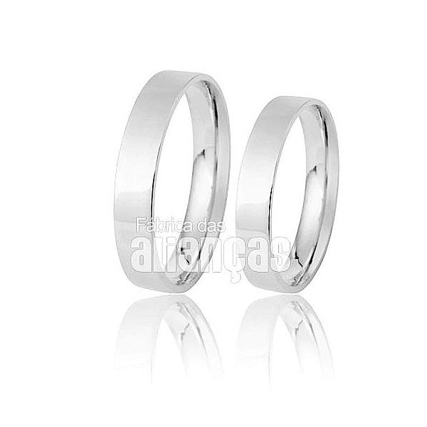 Aliança De Noivado e Casamento Em Ouro Branco 18k 0,750 Fa-275-b
